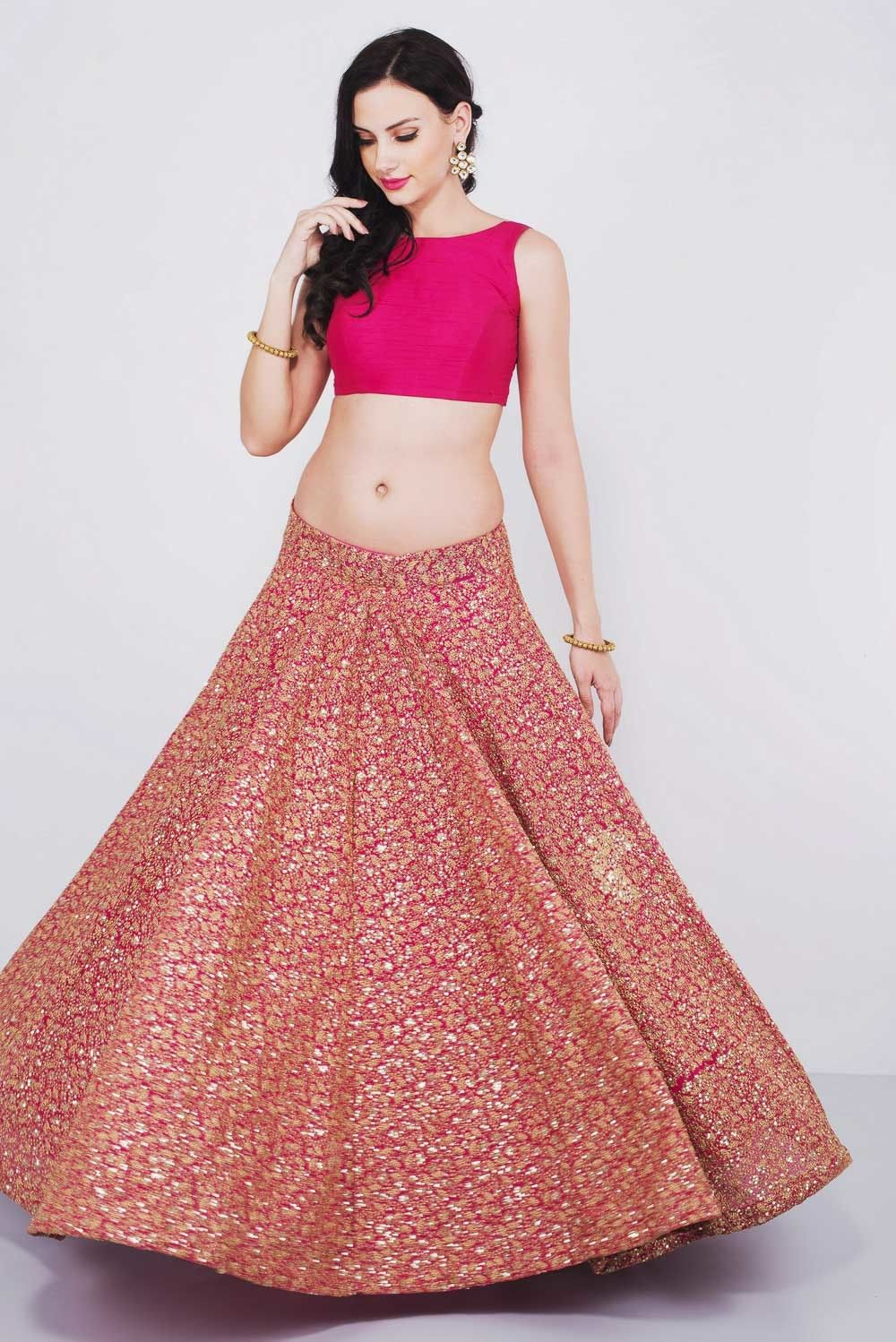249f76002ca12 Heavy Zari Embroidered Pink Crop Top   Skirt Set