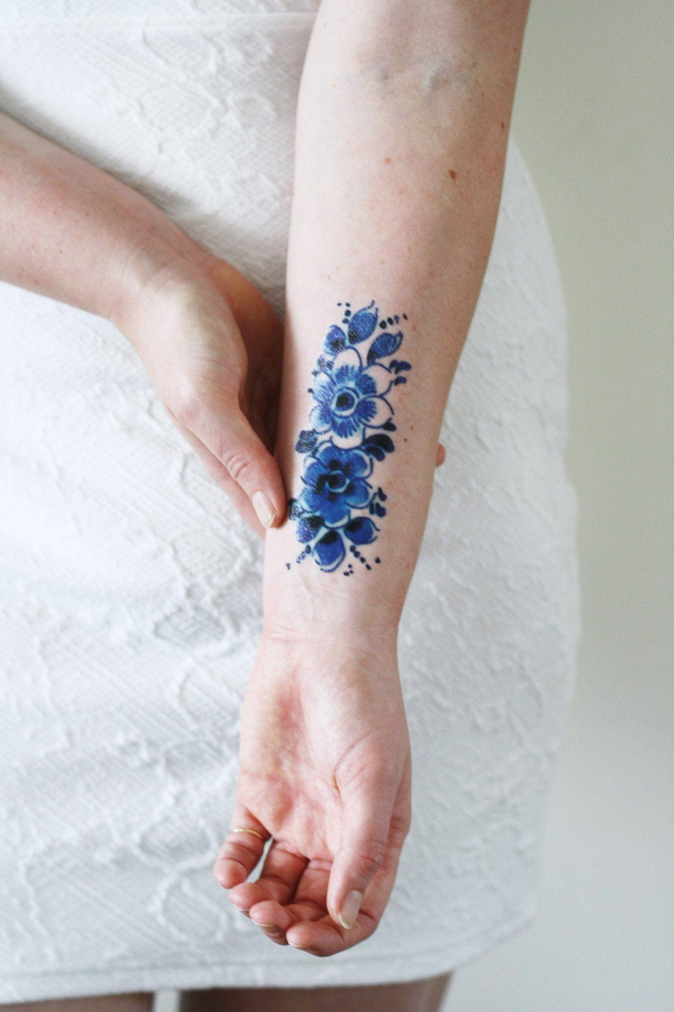Delft Blue Flower Tattoo Pinterest Blue Flower Tattoos Flower