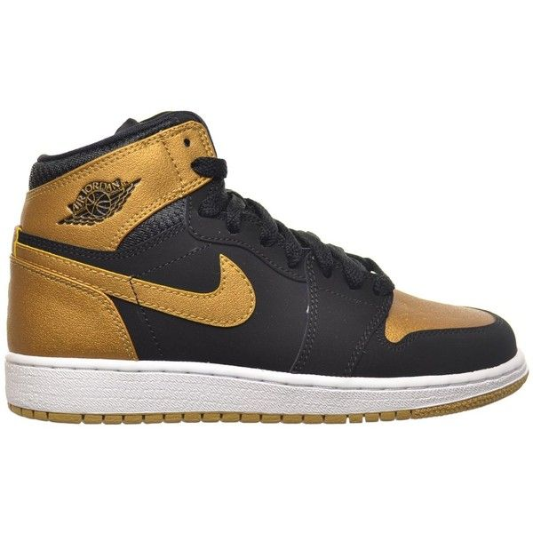 f7b48b4c8f6d Air Jordan 1 Retro High BG Big Kids Shoes Black Metallic Gold-White...  ( 105) ❤ liked on Polyvore featuring shoes and nike