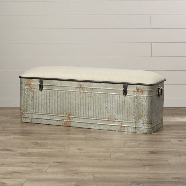 Industrial Galvanized Metal Farmhouse Style Trough Storage Bench Diy Storage Bench Upholstered Storage Bench Storage Bench