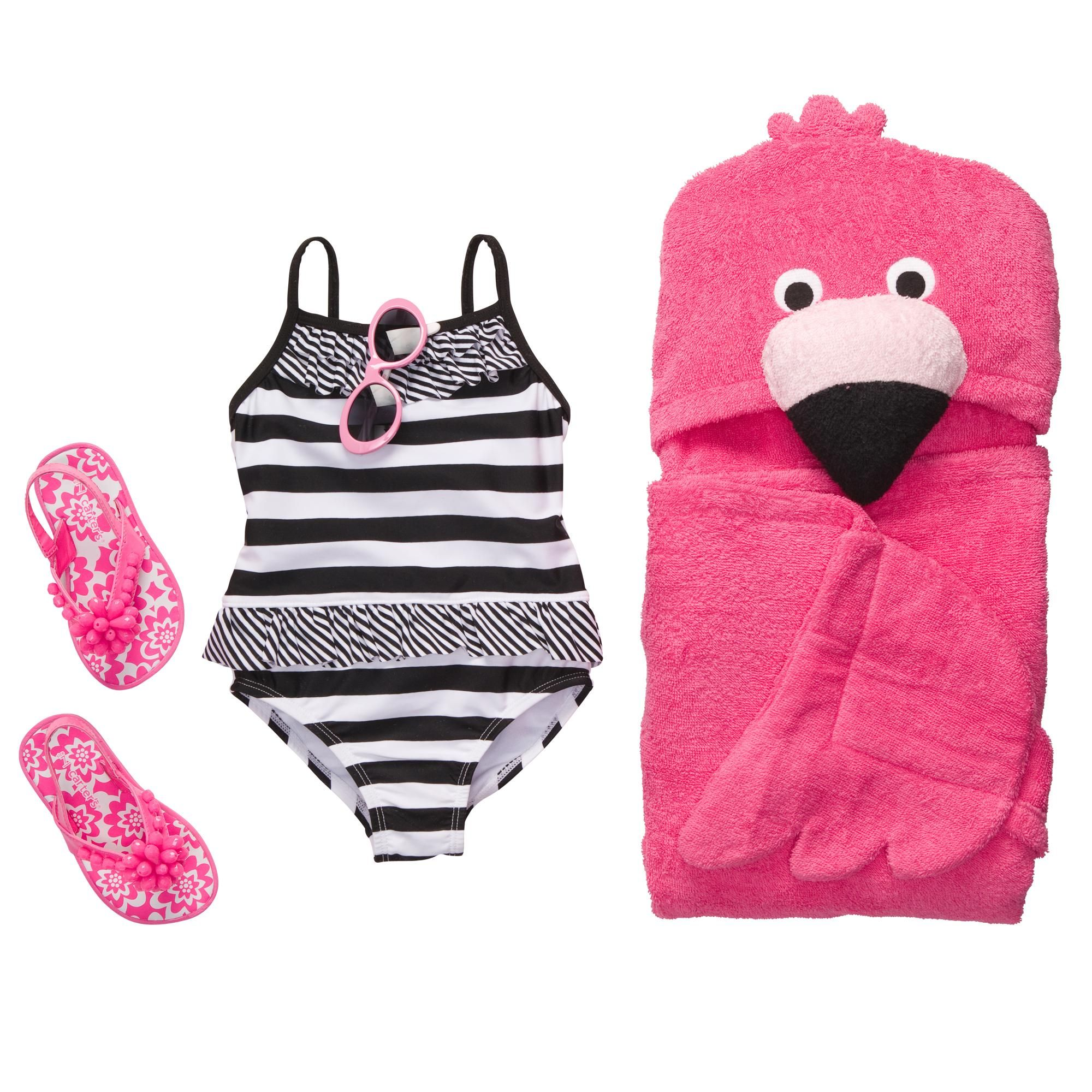 How adorable is this Flamingo Baby set from @Carter's Babies and Kids? Comes with sandals, bathing suit, sunglasses and a hooded towel!