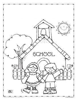 Okul Boyama Sayfasi 1 Boyama Anaokulu Sınıfı Okul Ve