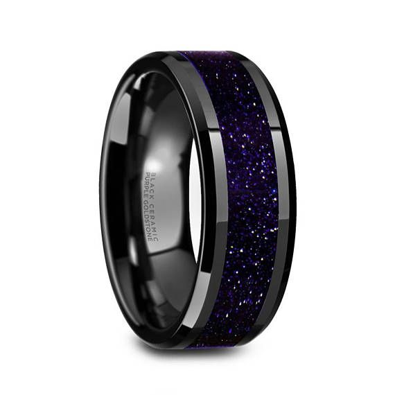 Black Ceramic Ring Purple Goldstone Inlay Ceramic Wedding Band Beveled Polished Finish 8mm C Black Ceramic Ring Ceramic Wedding Bands Rings For Men