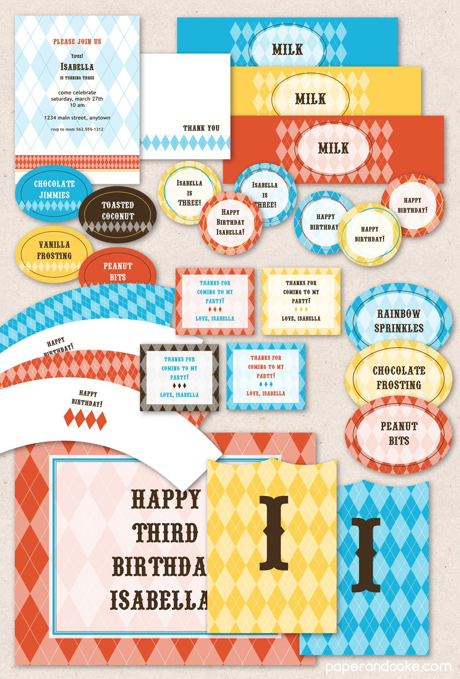Circus Argyle Printable Party The Perfect Set Of Colorful Party