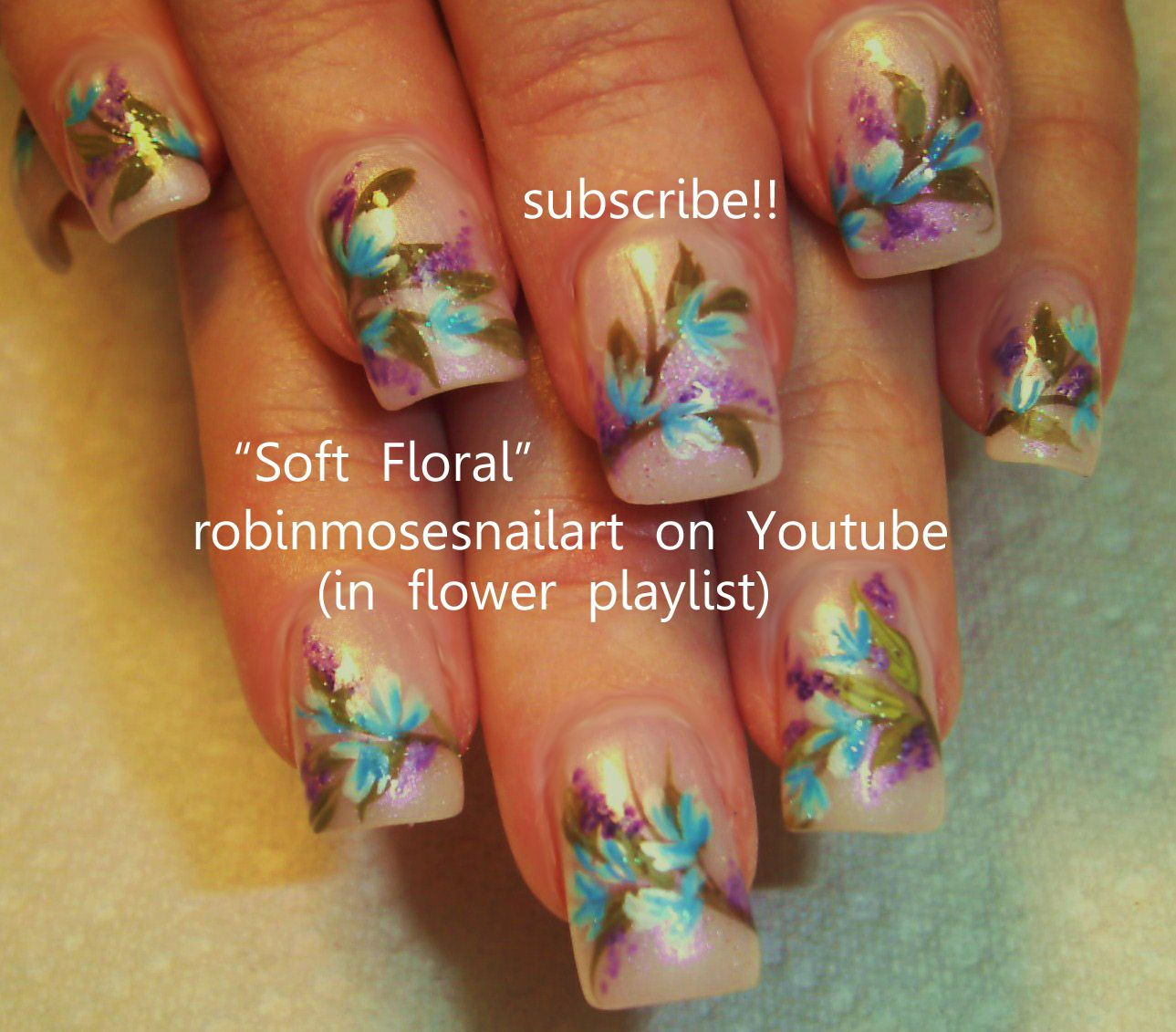 Nail-art by Robin Moses SOFT floral http://www.youtube.com/watch?v ...