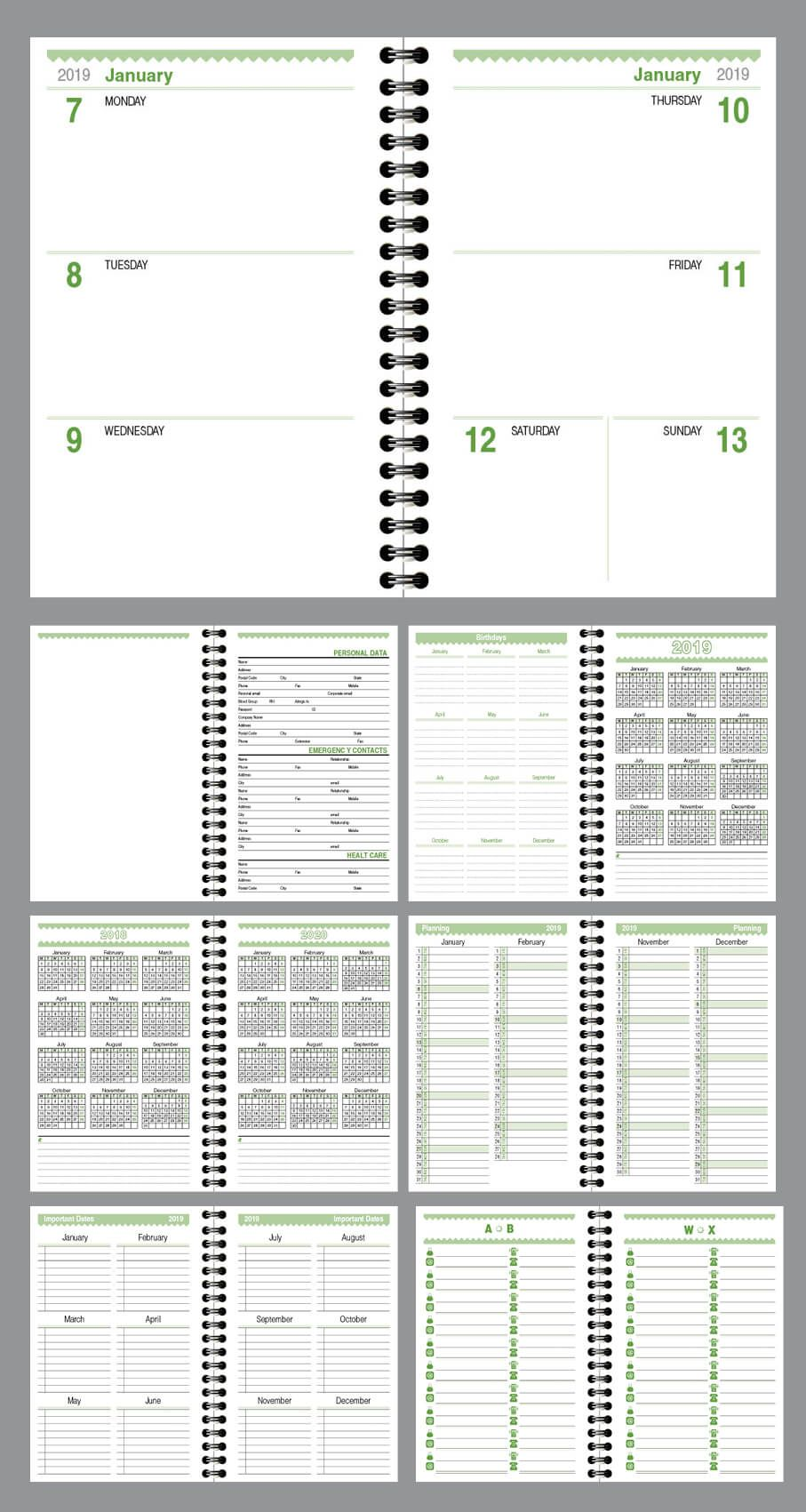 Daily planner agenda Indesign template fully editable, model ATD34