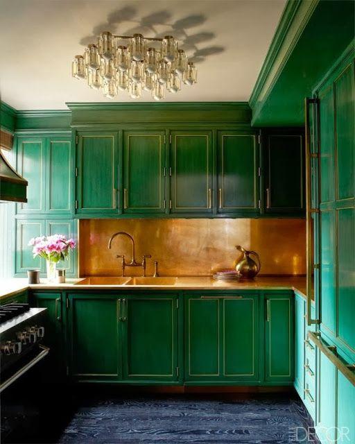 La Maison Boheme - Cameron Diaz's emerald green kitchen