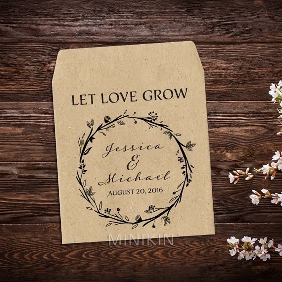 Wedding Seed Packets, Custom Seed Packets, Flower Favor, Rustic Wedding, Garden Party Favor, Seed Packet Favors x 25