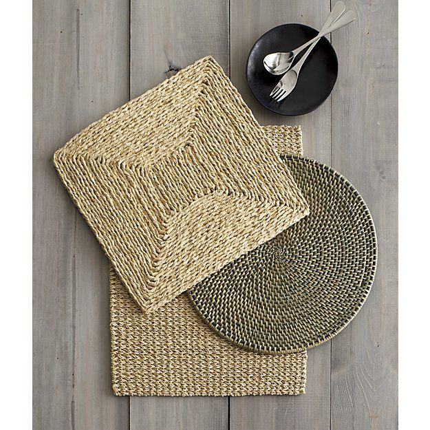 Artesia Grey Rattan Round Placemat Crate And Barrel Linen