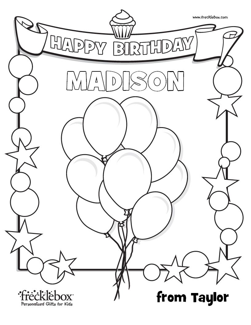 custom happy birthday coloring page kid birthday party ideas