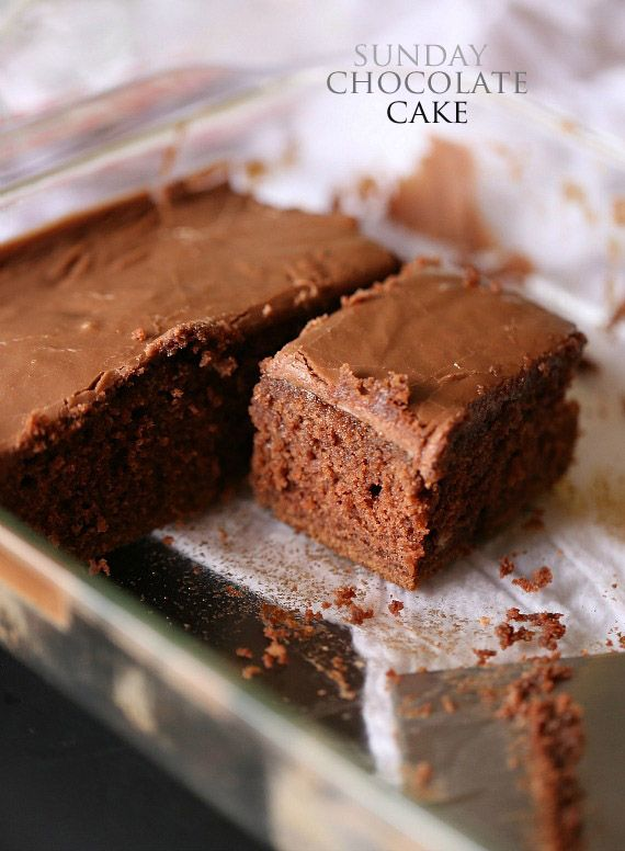 Sunday Chocolate Cake...super easy cake with AMAZING pourable chocolate frosting!!