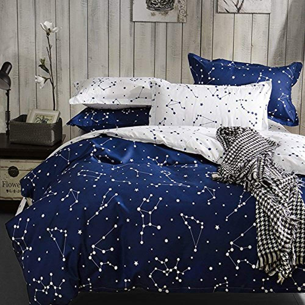 Hxiang Blue Color Constellation 3pc Duvet Cover Sets Space Style