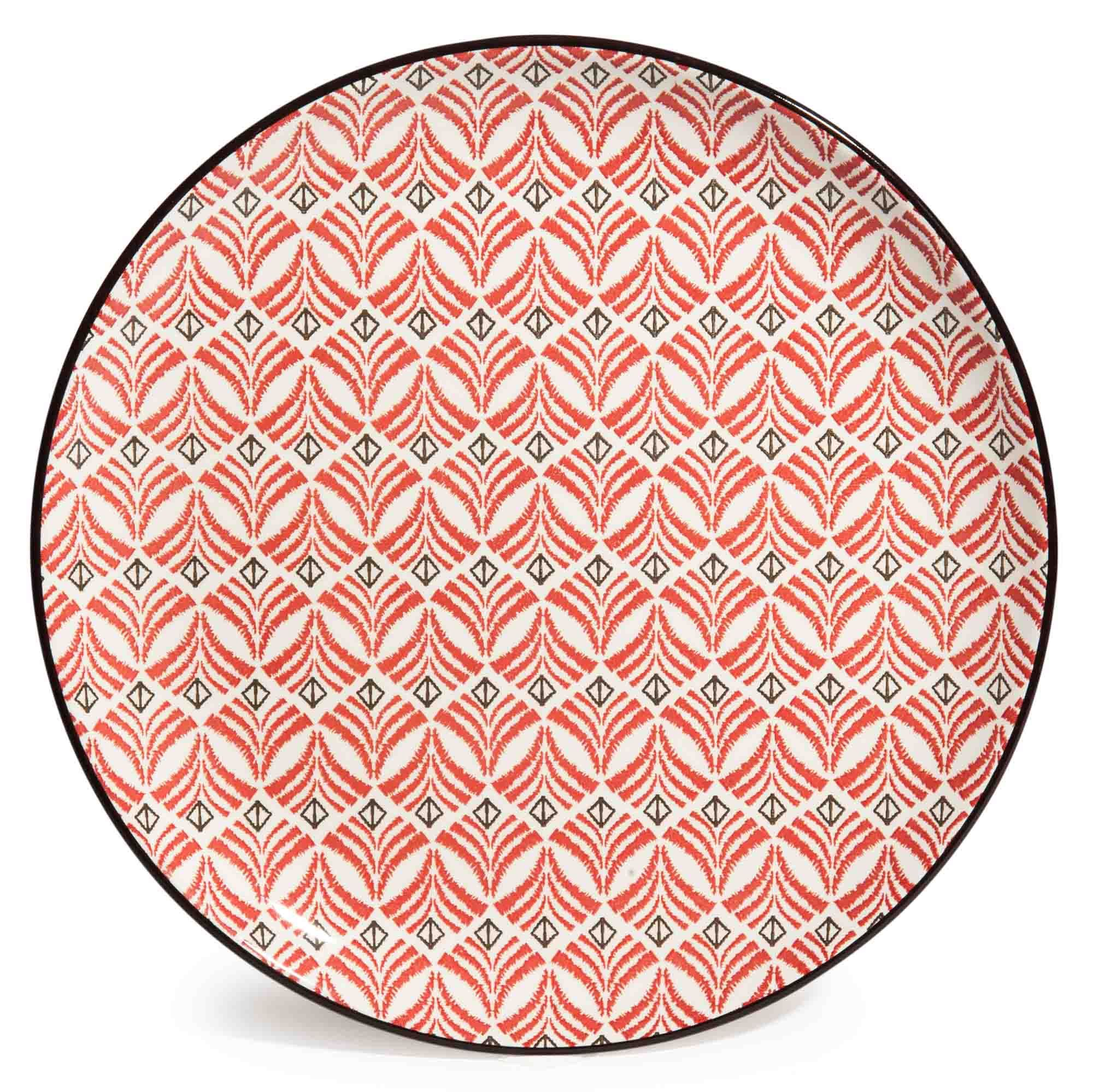 Assiette Plate En Fa Ence Rouge Noire Seville Lot De 6  # Rangements Assietes Modernes