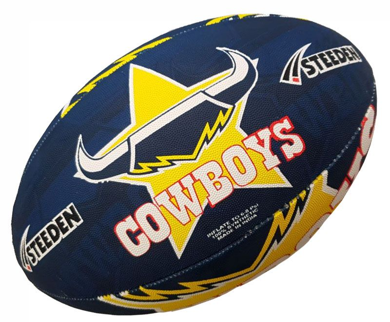 b806e50837a North Queensland Cowboys Rugby Ball Steeden Supporter Full Size 5 ...
