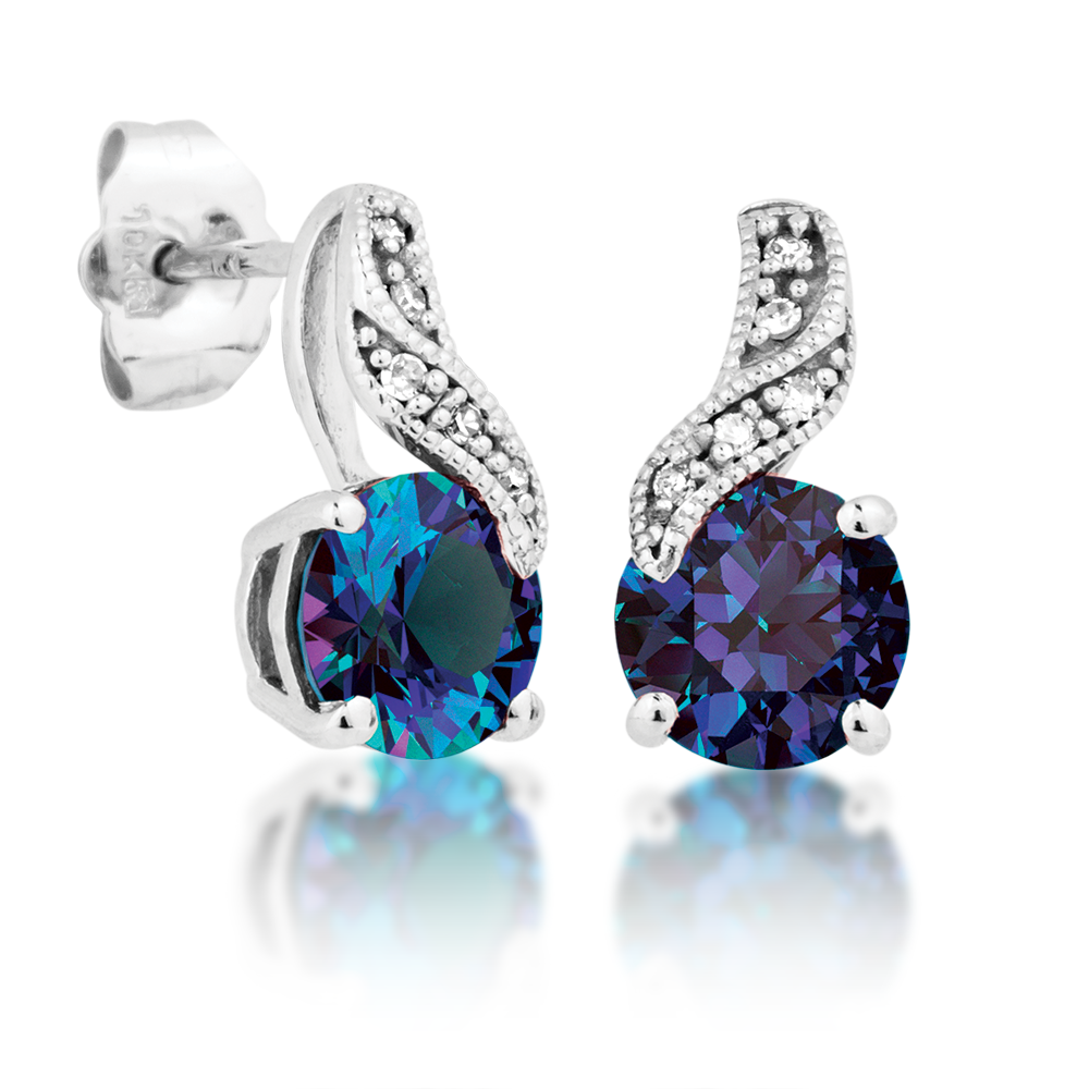 Beautiful color change Alexandrite and Diamond Earrings in White Gold