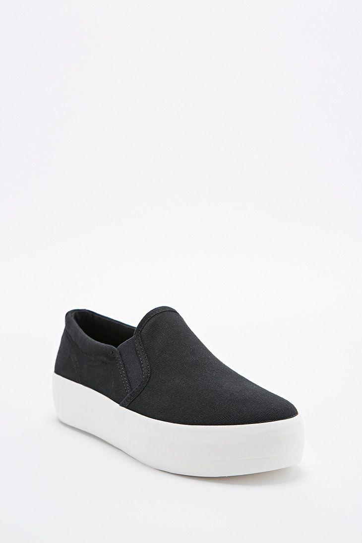 Vagabond Keira Slip-On Canvas Flatform Shoes in Black