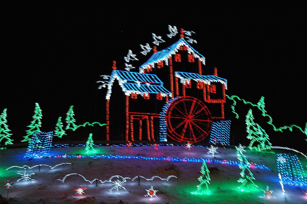 Christmas Lights Depicting The Old Mill In Pigeon Forge. Pictures
