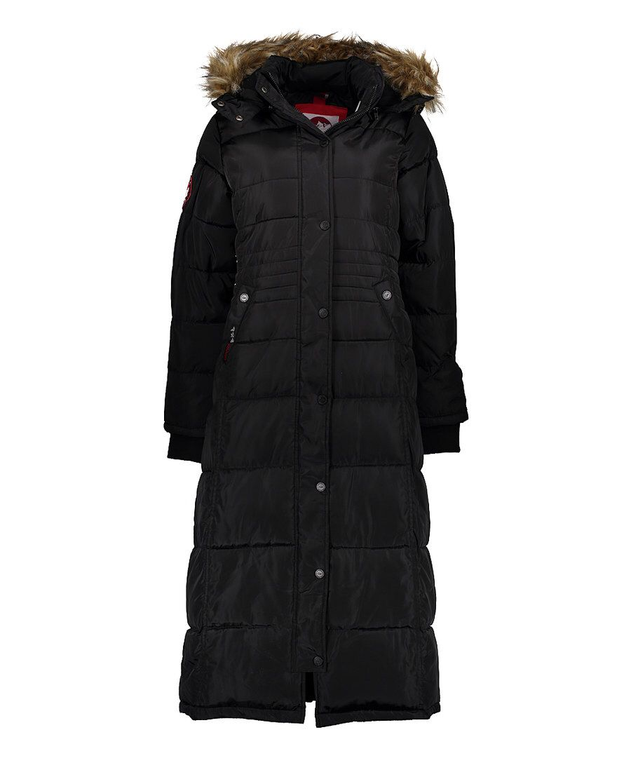 Look At This Canada Weather Gear Black Faux Fur Lined Hooded Full Length Puffer Coat Plus Too On Zulily Today Puffer Coat Black Faux Fur Puffer [ 1081 x 900 Pixel ]