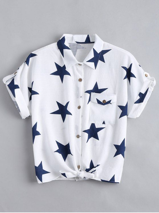 2ee5c417 Button Up Star Pattern Pocket Shirt - WHITE M. Blouses For Women | Black ...