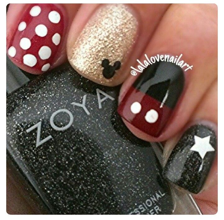 Uñas . decorada de Mickey | nail art | Pinterest | Uñas decorada ...