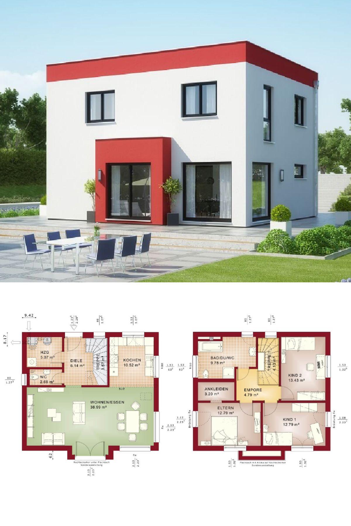 stadtvilla modern im bauhausstil mit flachdach haus grundriss evolution 125 v8 bien zenker. Black Bedroom Furniture Sets. Home Design Ideas