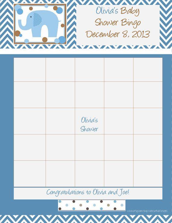 Personalized Custom Baby BOY Shower Bingo Sheets - Chevron Designs - football betting sheet template