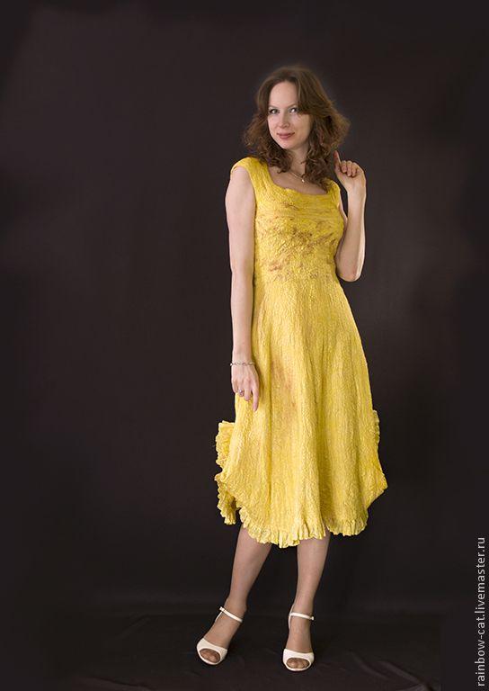 """Купить """"Sunshine"""" авторское платье в технике nuno felting - валяное платье, платье войлочное"""