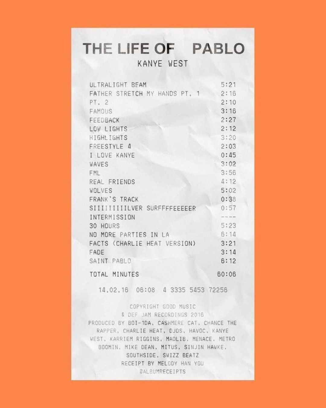 Kanye West Album Receipt In 2020 Music Poster Ideas Music Poster Design Kanye West Albums