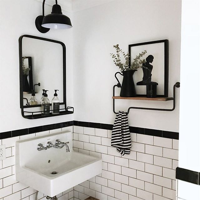 "Photo of Shannon | Home Sweet Farm Home on Instagram: ""This simple bathroom from @disheveleddelight makes my heart skip a beat. I love the floating shelf, the black and white tiles and that sink…"""