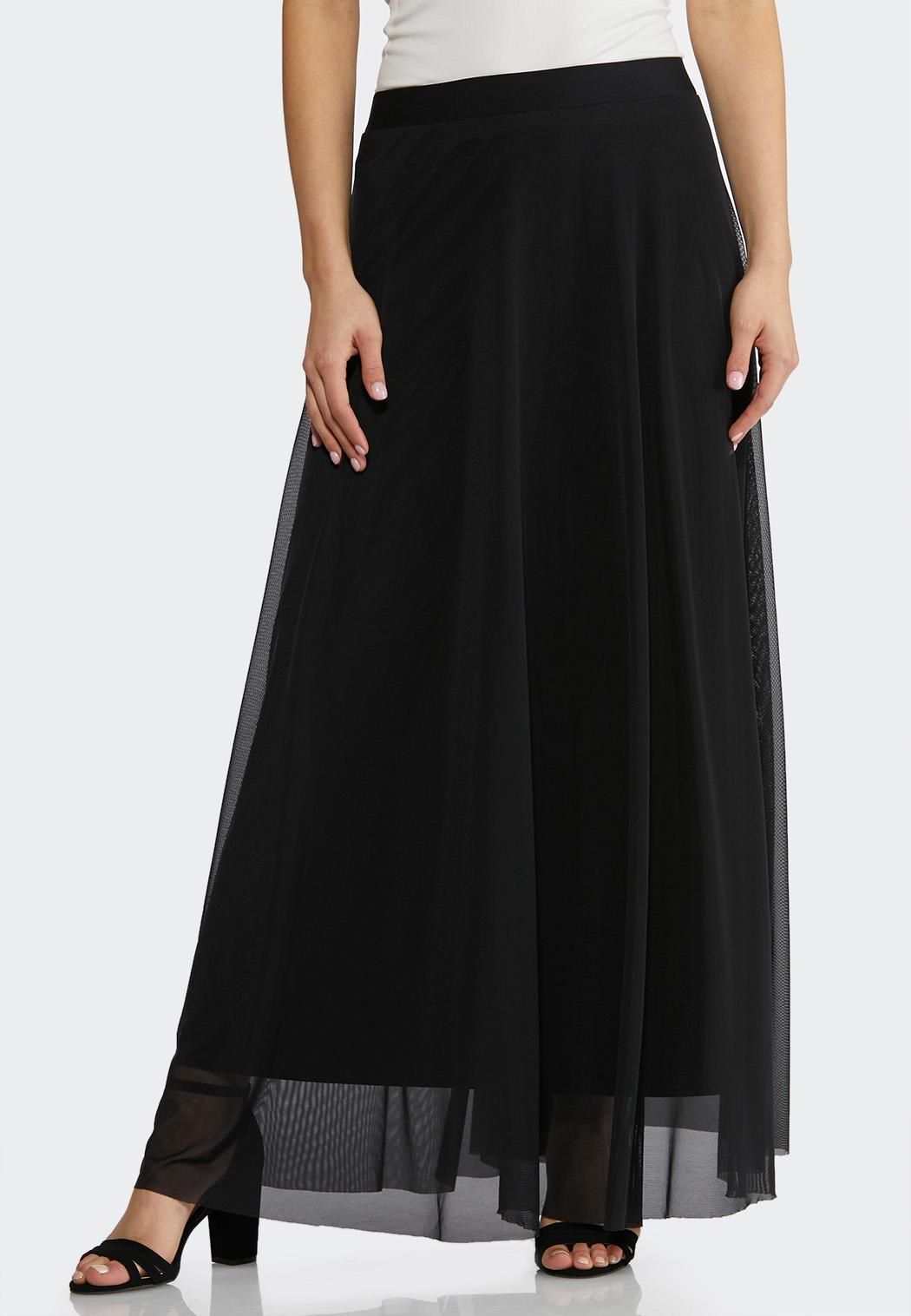 d18840956b3 Plus Size Solid Mesh Maxi Skirt Skirts Cato Fashions in 2019 ...