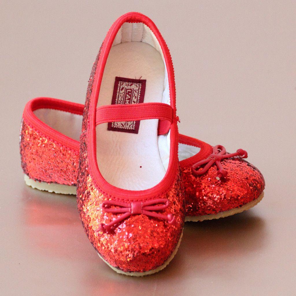 L'Amour Girls Glitter Ballet Flats
