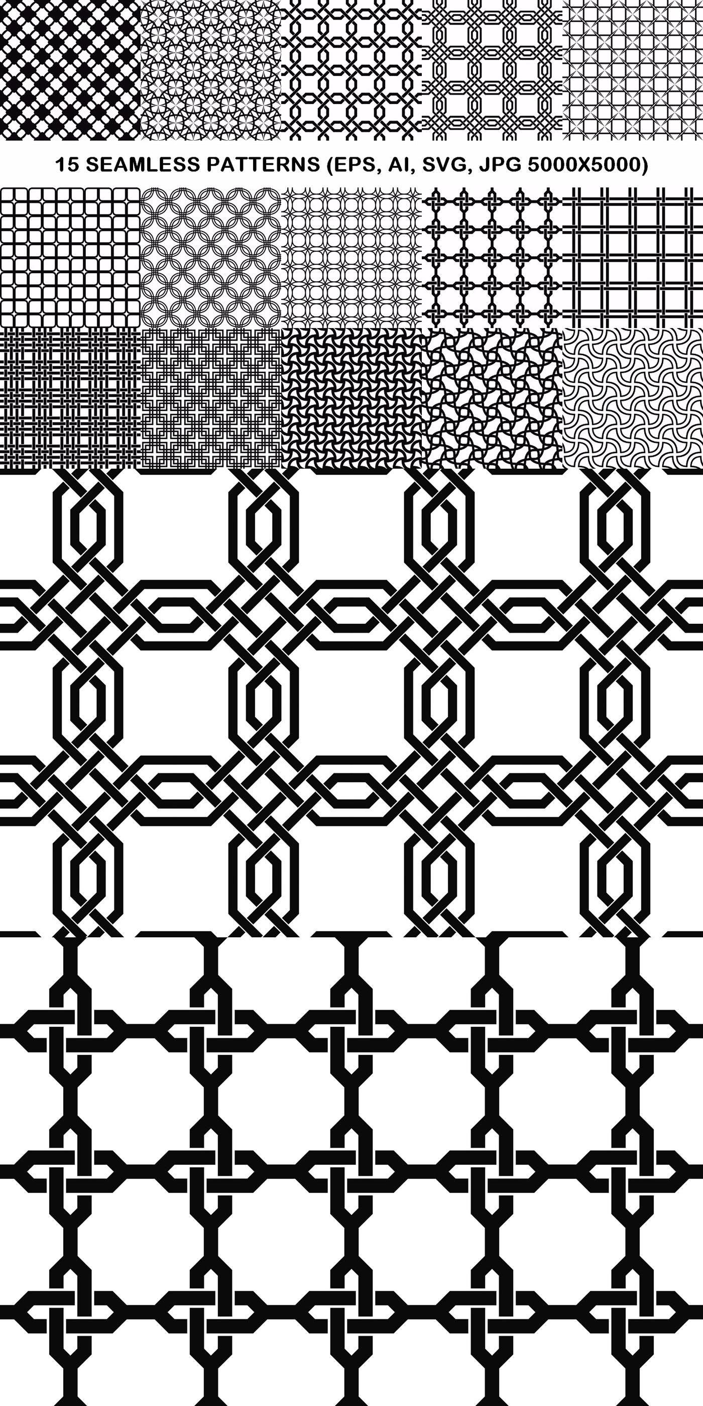 15 Seamless Grid Patterns Pattern Monochrome Lattice Seamless Graphicdesign Monochromegraphic Vec Monochrome Pattern Geometric Background Vector Pattern