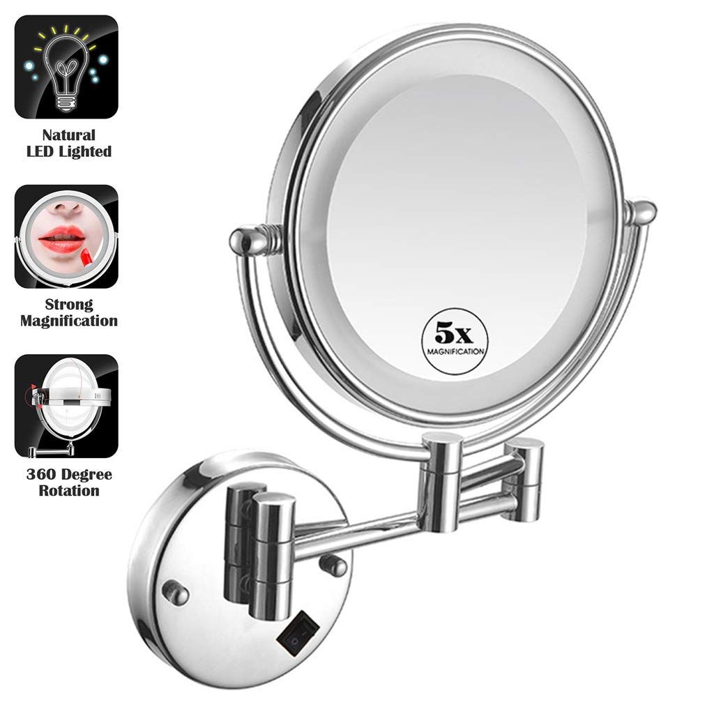 Makeup Mirror Wall Mount 1x 5x Magnifying Mirror Led Lighted Cosmetic Vanity Mirror For Bathroom Two Sided Face Mi In 2020 Magnifying Mirror Face Mirrors Makeup Mirror