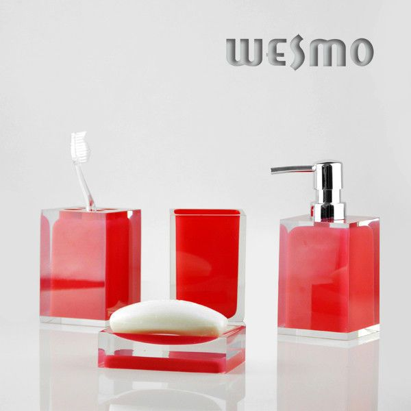 China Personalized Red Color 4 Piece Polyresin Bathroom