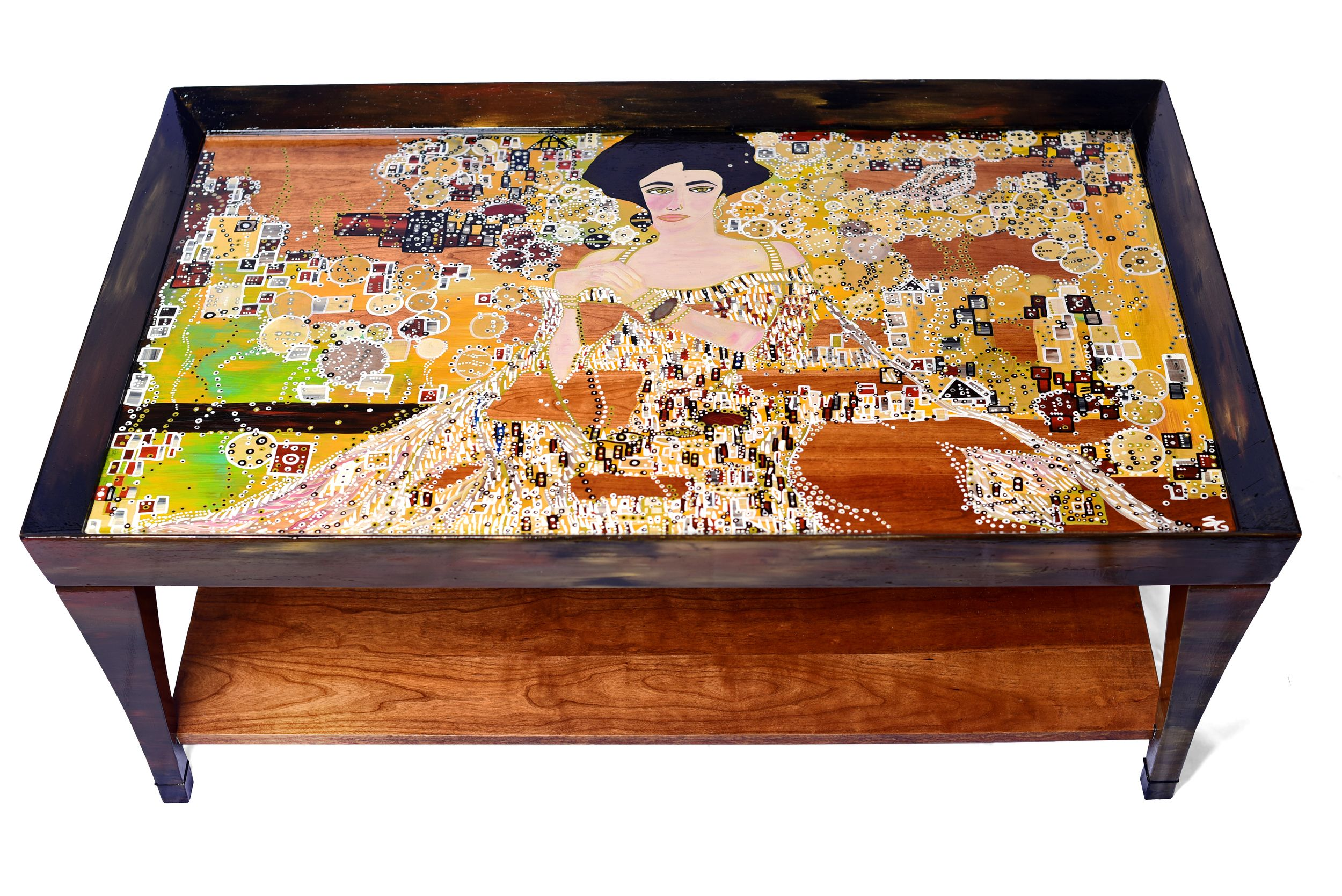Gustav klimts woman in gold two tiered hand painted coffee gustav klimts woman in gold two tiered hand painted coffee table interpreter geotapseo Gallery
