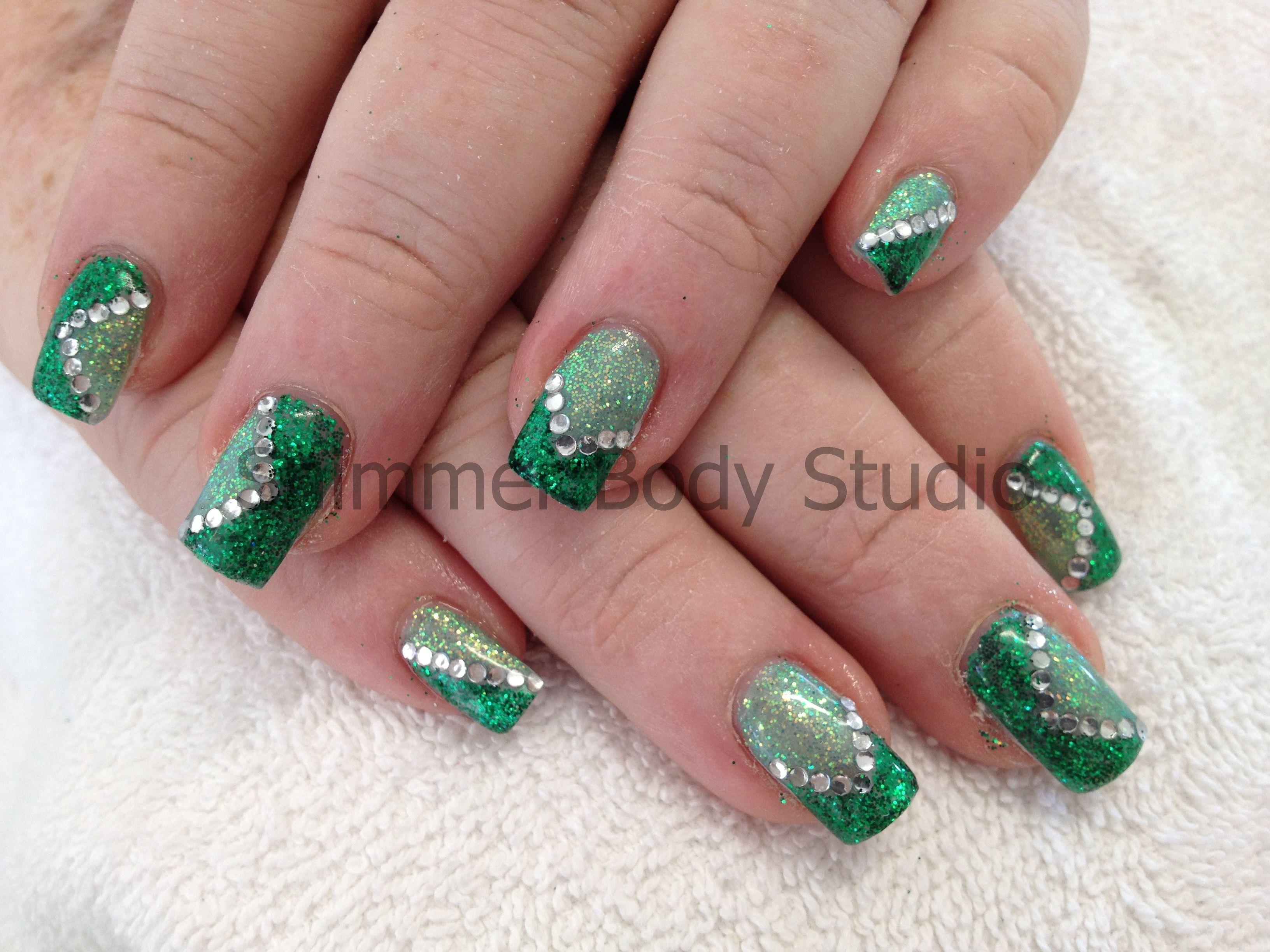 Gel nails, glitter nails, green nails, light green and dark green ...