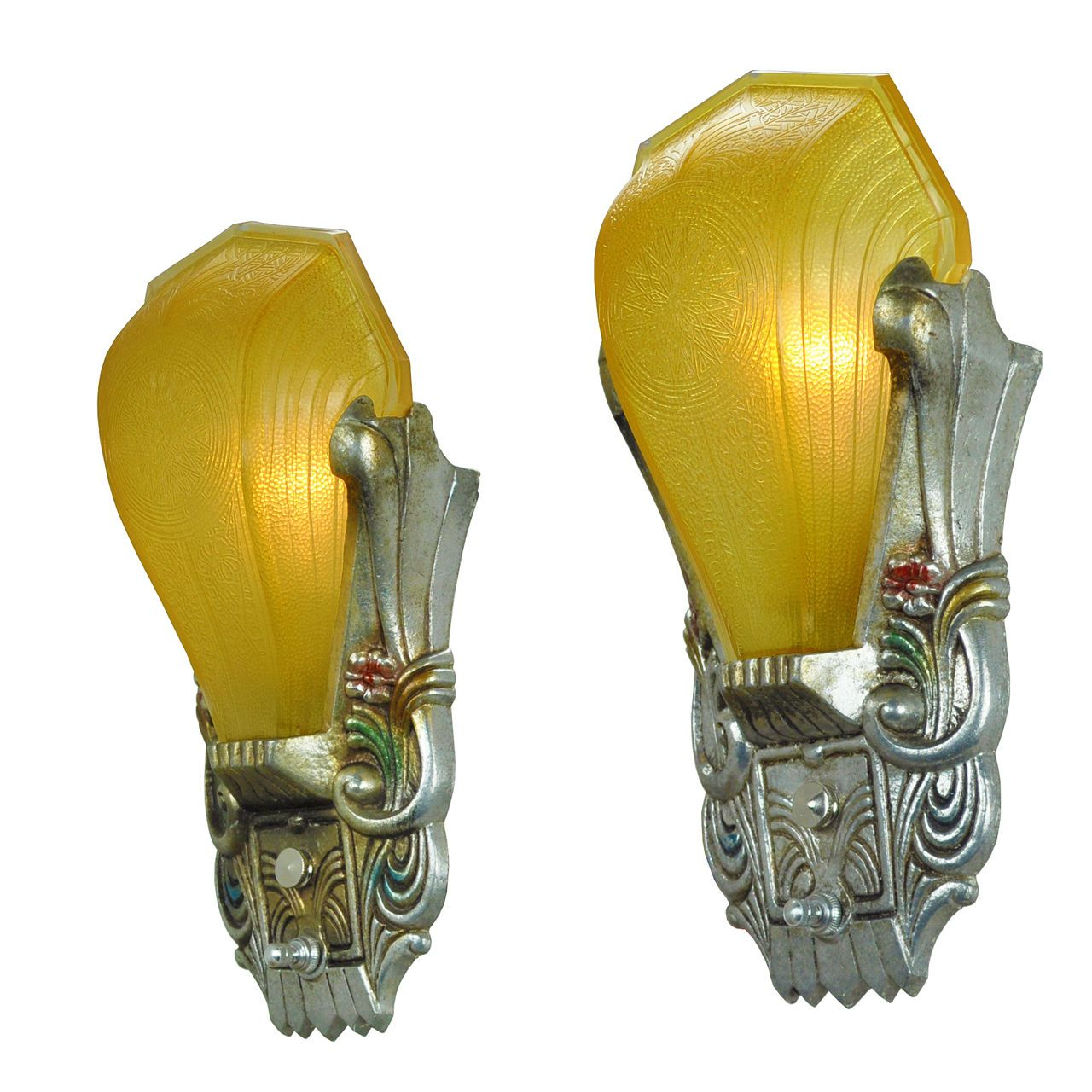 Art Deco Antique Polychrome Wall Sconces Amber Slip Shades by Riddle ...
