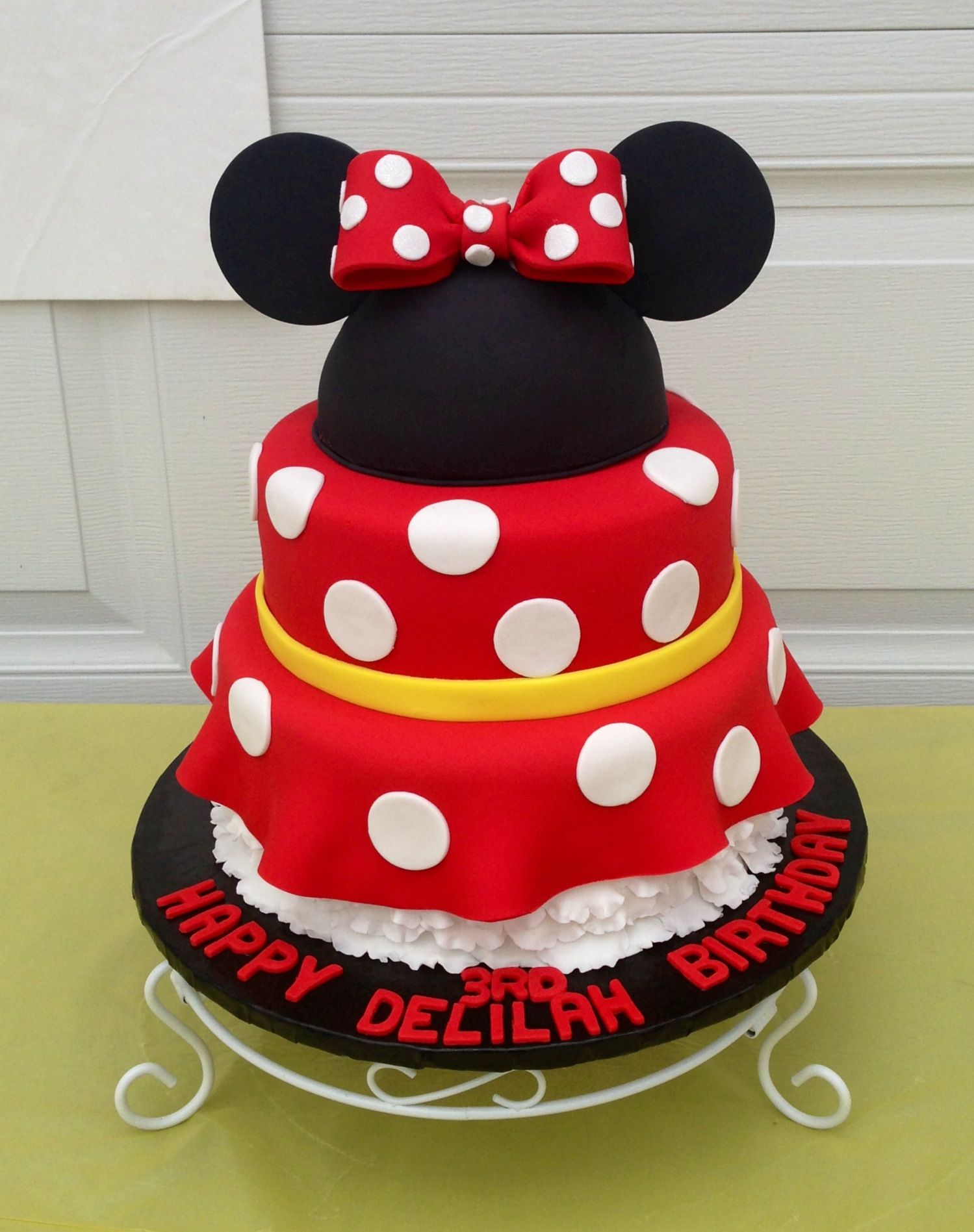 Made this minnie mouse dress cake with sugar paste ears