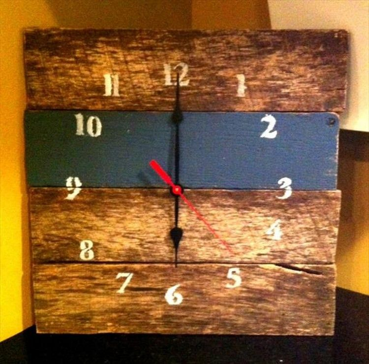Reclaimed Wood Pallet Wall Clock Plans Pallet Wood Walls Pallets