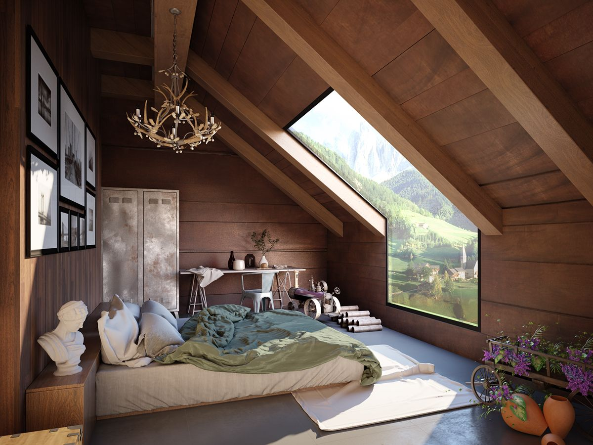 Mezzanine loft bedroom ideas  My archviz Training Class No on Behance  tetőtér  Pinterest