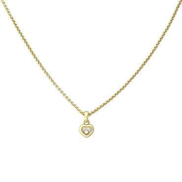 Chopard Happy Diamond 18k Gold Floating Heart Pendant Necklace 79 4854