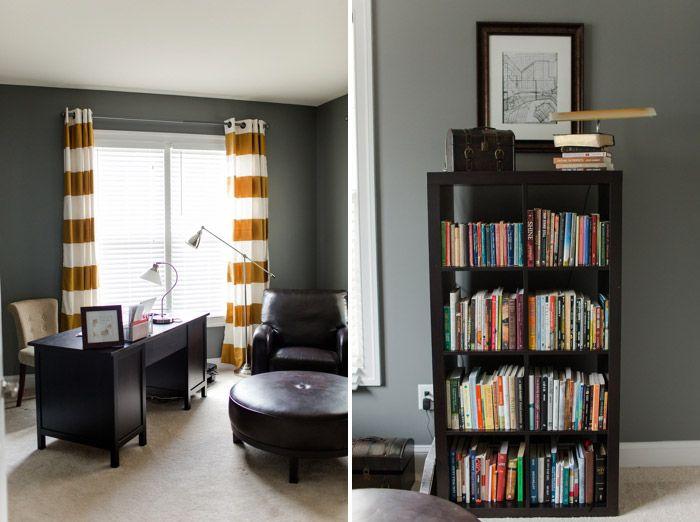 Dark Gray Walls, White Trim And Carpet, Dark Brown Furniture, Hints Of  Yellow
