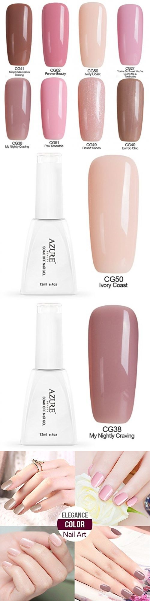 Gel Nails: Azure Beauty Soak Off Uv Led Gel Nail Polish 8 Pcs 12Ml ...