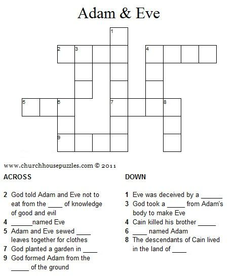 Adam And Eve Crossword Puzzle Bible Lessons For Kids Sunday School Games Sunday School Kids