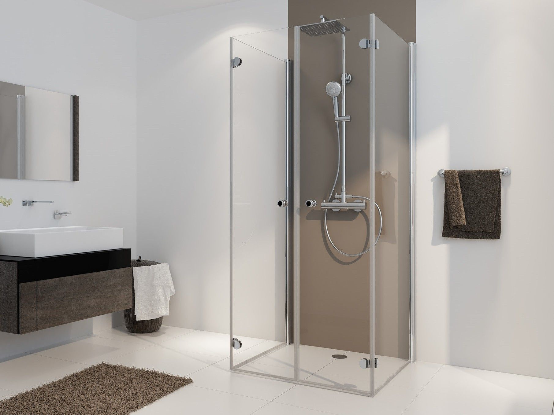 faltt r dusche u form ab 70 x 70 x 220 cm echtglas esg klar hell 6 mm wandprofil alu silber. Black Bedroom Furniture Sets. Home Design Ideas