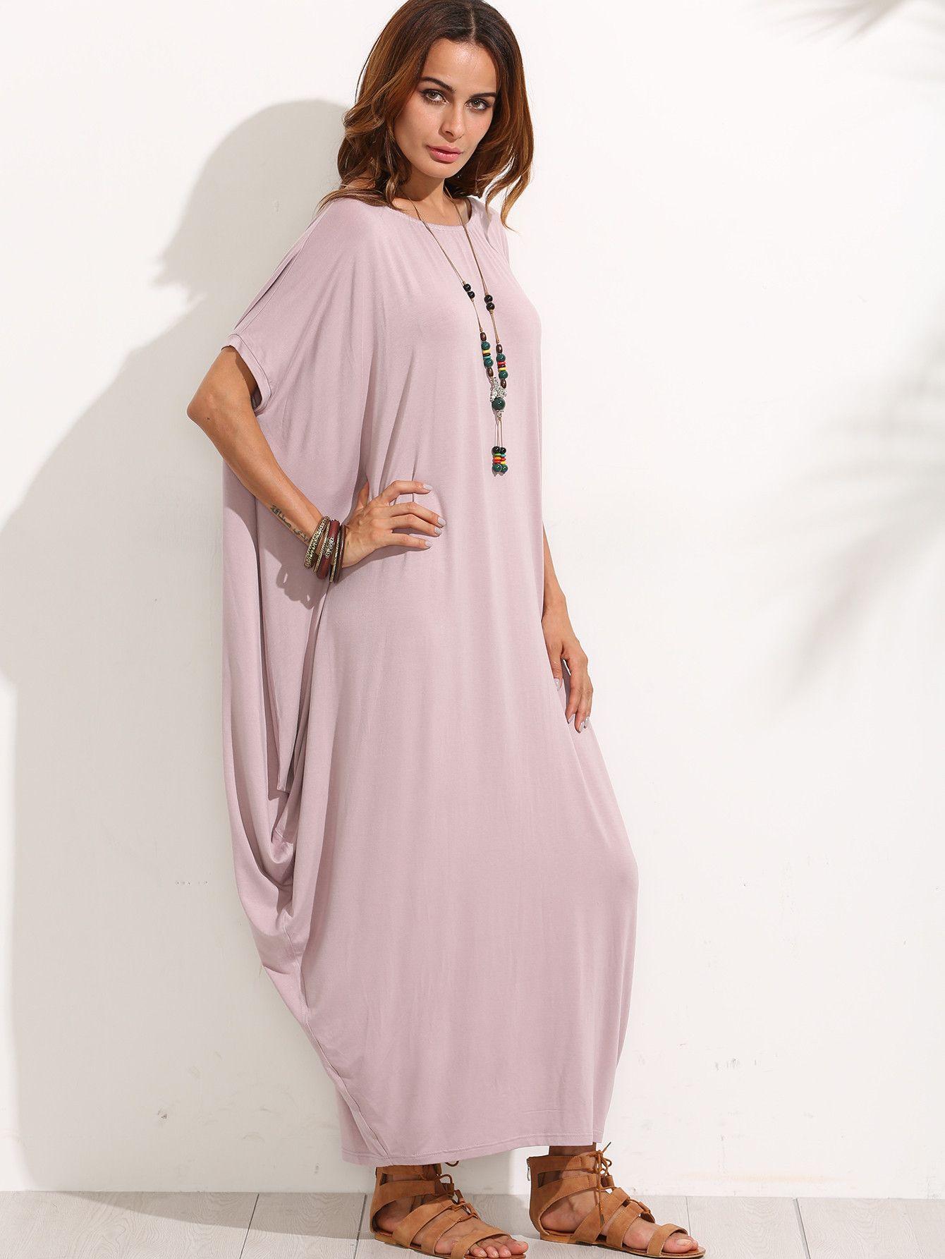 Pink n purple dress  Purple Boat Neck Dolman Sleeve Long Dress  Loose n lovely