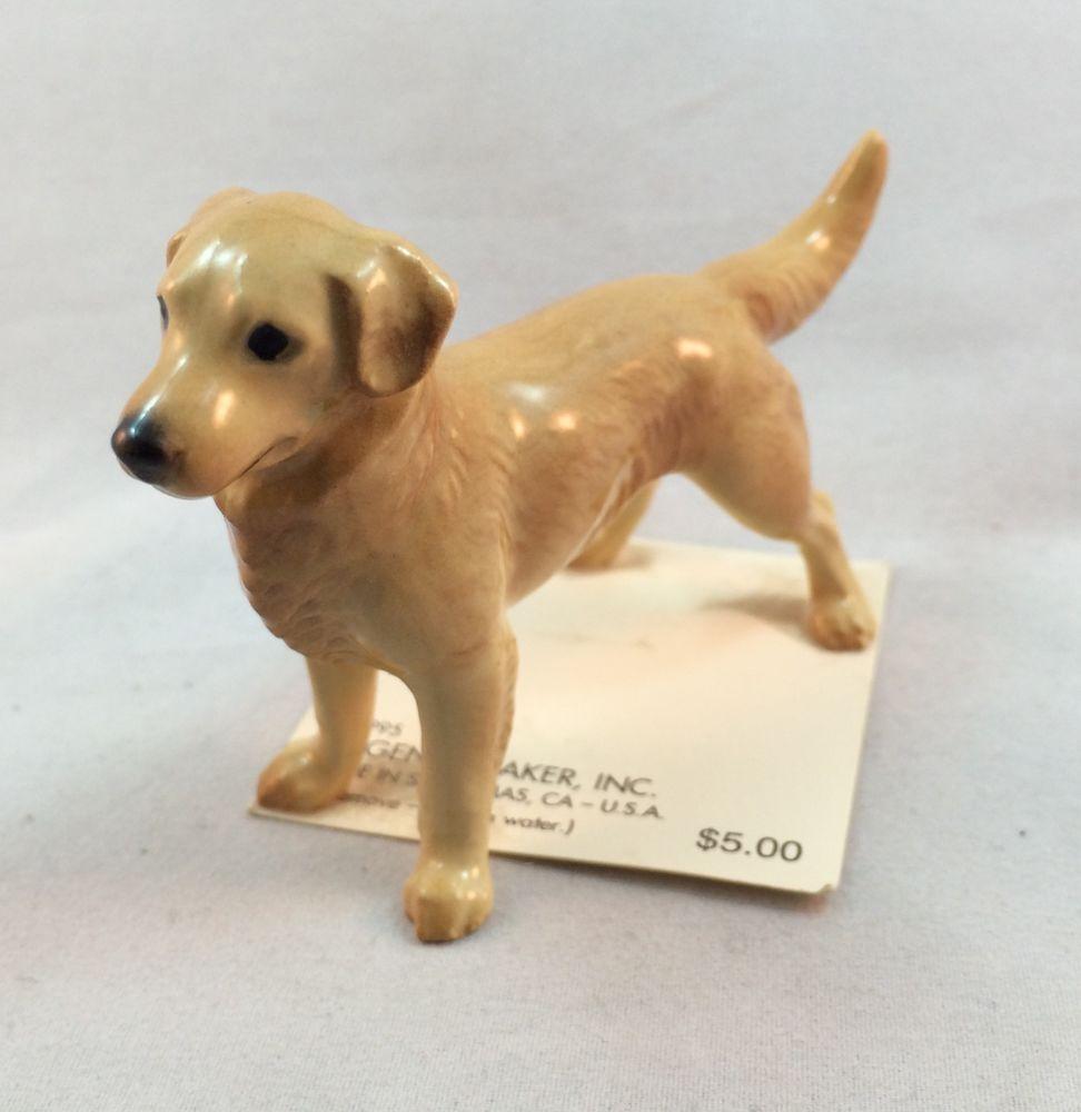 Hagen Renaker Miniature Dog Golden Retriever and Puppy Ceramic Figurine