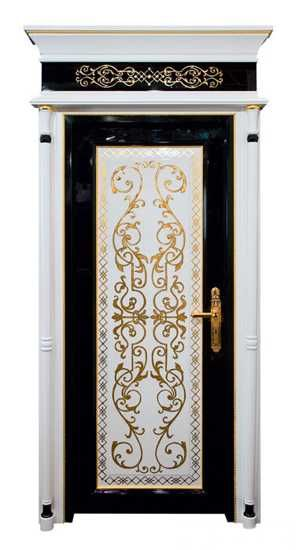 classic style wood door with goldern decoration