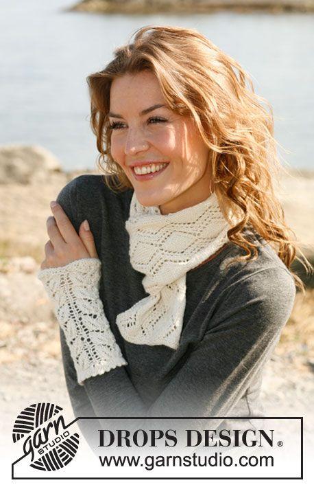"""Gebreide DROPS sjaal en polswarmers met kantpatroon van """"Baby Alpaca Silk"""". ~ DROPS Design"""