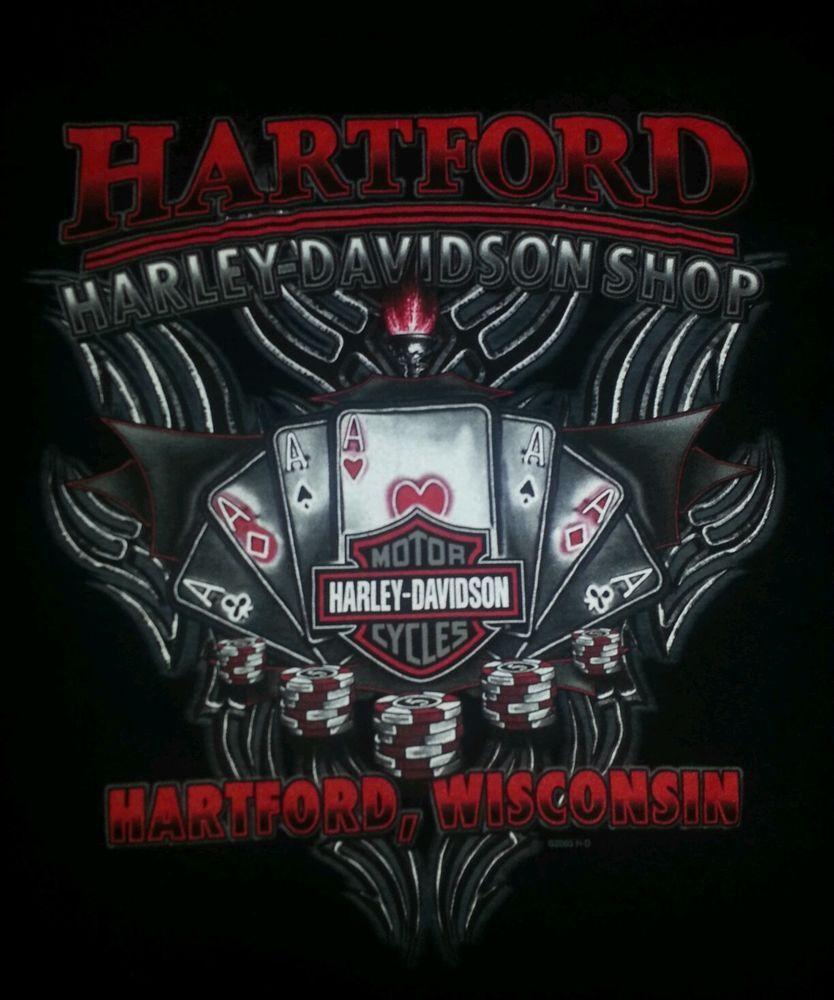 Harley davidson motorcycles mens tshirt l black hartford